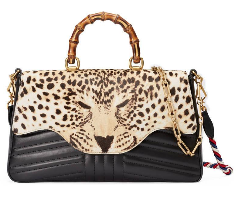 Gucci Brown Leopard Print Top Handle Bag
