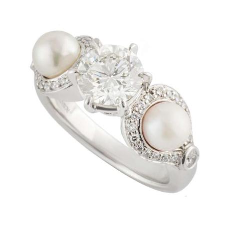 Rosendorff 18k White Gold Diamond & Pearl Ring