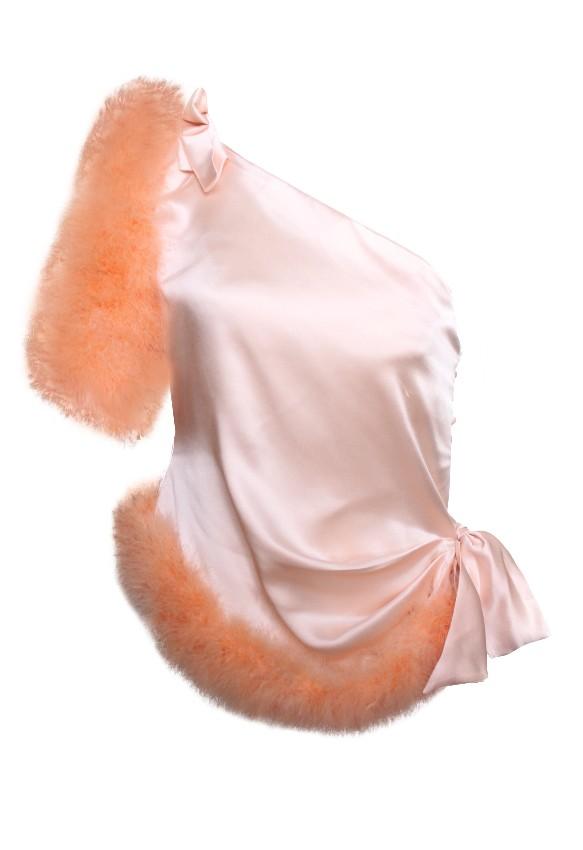Maguy de Chadirac One shoulder Blush Marabou Feather Trim Top