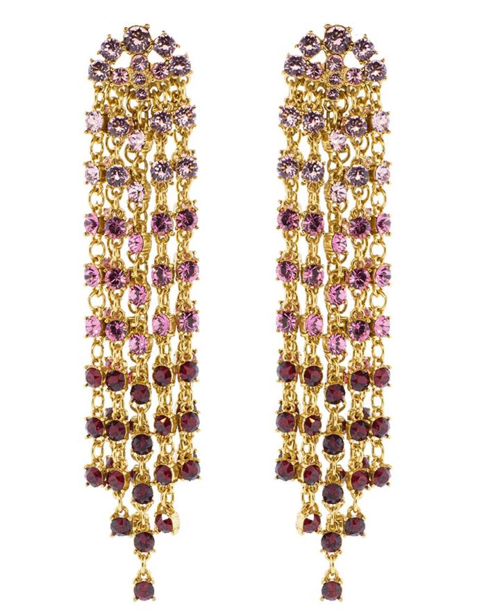 Oscar De La Renta Crystal Cascade Earrings