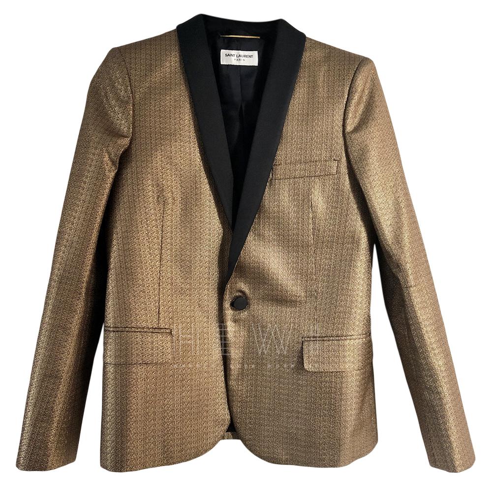 Saint Laurent gold jacquard blazer.