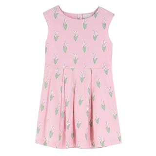 Jacadi baby pink sleeveless printed dress