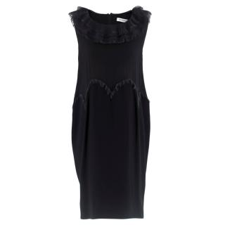 Yves Saint Laurent Black Chiffon Trim Mini Dress