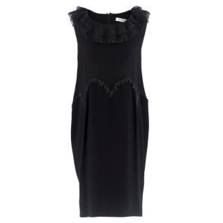 Yves Saint Laurent Black Chiffon Trim Mini Dress