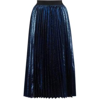 Sportmax Code polo metallic pleated midi skirt