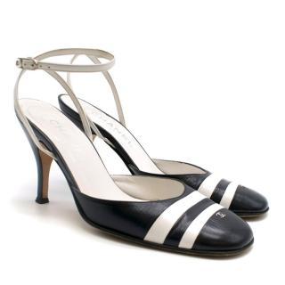 Chanel Black & White Striped Slingback Sandals