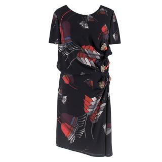 Gucci Black Floral Print Crystal Embellished Draped Dress