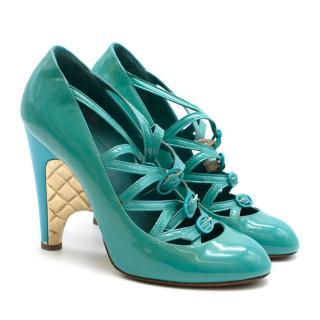 Chanel Blue Patent Strappy Pumps with Gold Wedge Heel