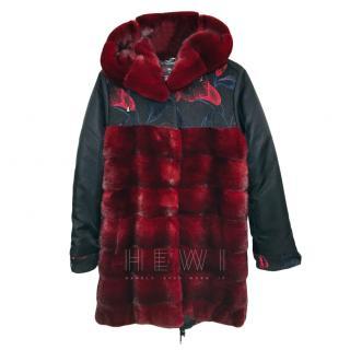 Mala Mati Delizia Mink Jacket in burgundy & black