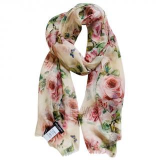 Dolce & Gabbana rose print silk twill scarf wrap