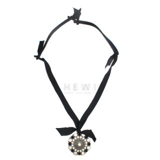 Lanvin Black Beaded Ribbon Necklace
