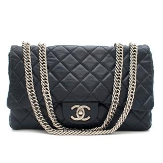 Chanel Navy Quilted Classic Flap Bag W/ Bijoux Chain