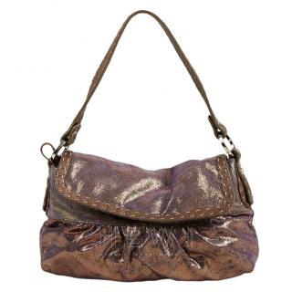 Fendi Metallic Leather Large Selleria Chef Tote Bag