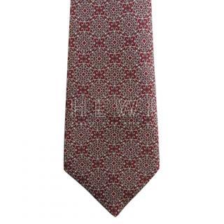 Stefano Ricci Red & White Handmade SIlk Printed Tie