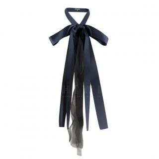 Chanel Navy & Black Chiffon Silk Bow Tie