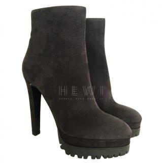 Sergio Rossi Grey suede platform sole ankle boots