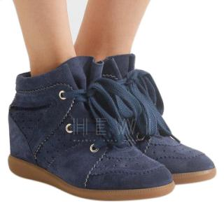 Isabel Marant �toile Bobby navy suede wedge sneakers