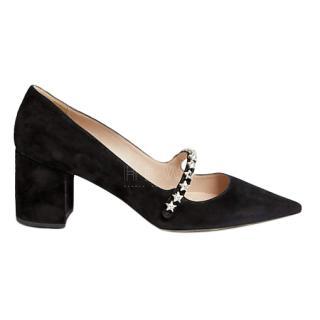 Miu Miu Black Suede Jewel Star Mary Jane Pumps