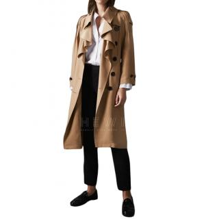 Burberry Ruffle Detail Silk Trench Coat