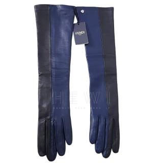 Fendi Blue & Black Lambskin Long Gloves
