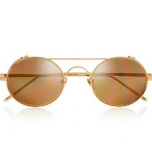 Linda Farrow Gold Plated  LFL/427/1 Aviator Sunglasses