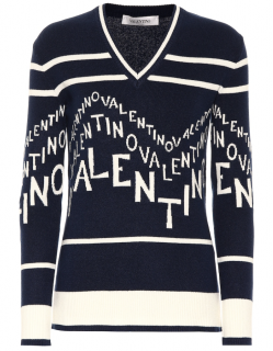 Valentino Chevron Logo Wool & Cashmere V-Neck Sweater