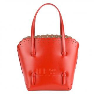 Alaia red scalloped small tote bag
