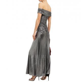 Maria Lucia Hohan Reem Metallic Jersey Off The Shoulder Maxi Dress