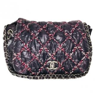 Chanel Tweed & Nylon Quilted Bubble Flap Bag