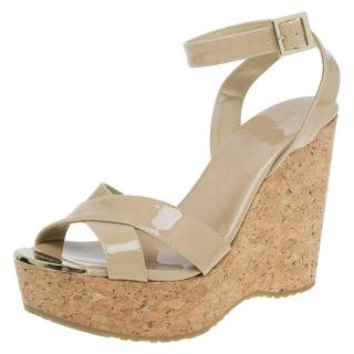 Jimmy Choo Beige Patent Papyrus Cork Wedge Sandals