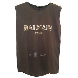 Balmain Khaki Logo Vest Top