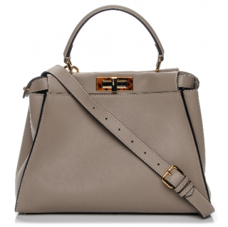 Fendi Dove Grey Leather Peekaboo Bag