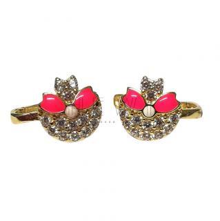 Bespoke pink enamel and white gold earrings