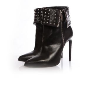 Saint Laurent black leather stud detail ankle boots