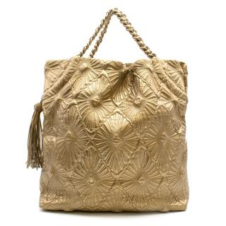 Chanel Gold Quilted Shopping Tote