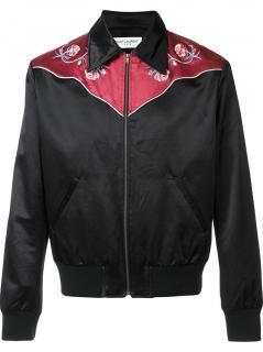 Saint Laurent Men's Western Bomber Jacket In Black And Burgundy