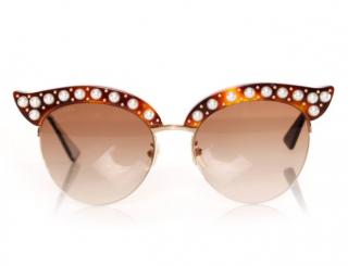 Gucci Pearl Embellished Cat Eye Sunglasses