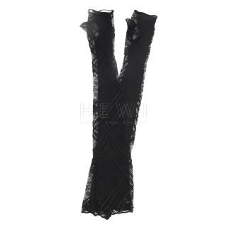 Chanel Black Long Lace Fingerless Gloves