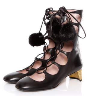 Gucci Lace-Up Heloise boots with fur pom poms
