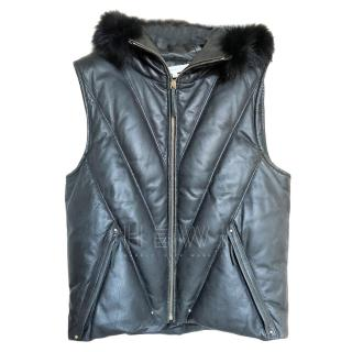 Vanessa Bruno Quilted Leather Hooded Gilet