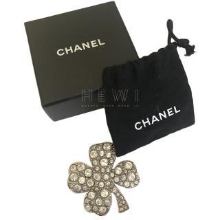 Chanel Crystal Embellished Four Leaf Clover Pin Brooch