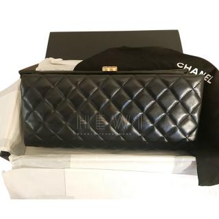 Chanel Black Quilted Leather Clutch W/ CC Clasp