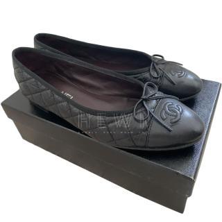 Chanel Black Quilted CC Cap-Toe Ballerina Flats