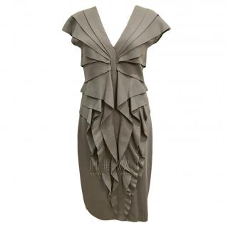 Fendi Grey Ruffled Wool Felt Dress
