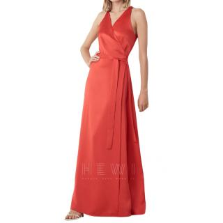 Diane Von Furstenberg Red Satin Wrap Dress