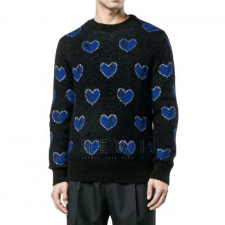 Saint Laurent Men's Heart & Lightning Bolt Knit Sweater