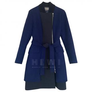 Sportmax Colourblock Wool Asymmetric Zip Coat
