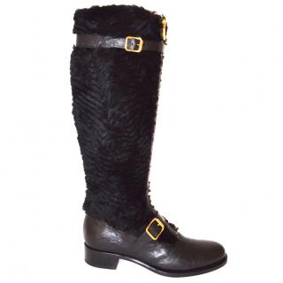 Rupert Sanderson Rabbit Fur Black Leather Knee Boots