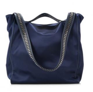 Stella McCartney Navy Satin Falabella Strap Shoulder Bag