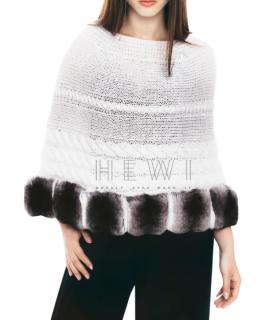FurbySD Chinchilla Fur Trim Knit Poncho